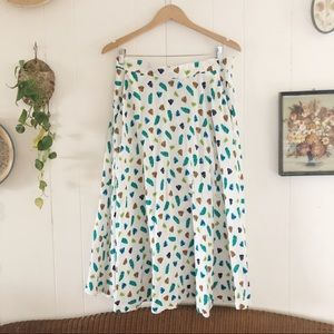 Vintage Leaf Print Flowy Maxi Skirt